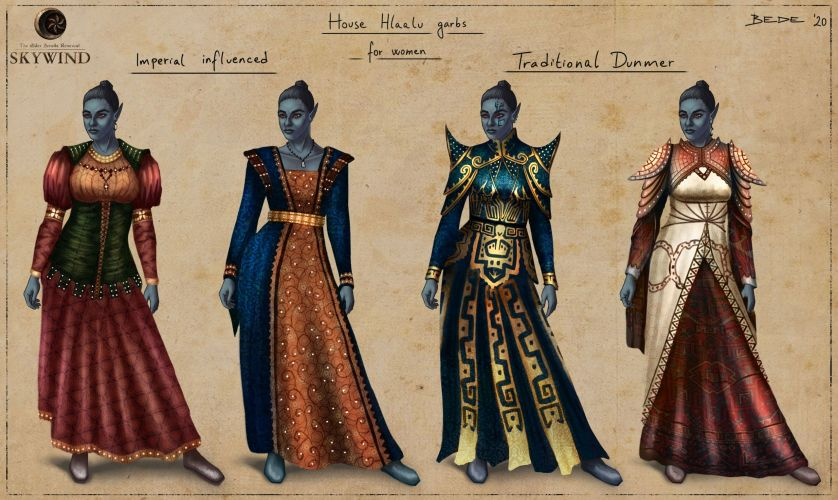 Female_Dresses_Imperial_Influenced_And_Traditional_Hlaalu_by_Zsolt_Bede
